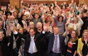 Hands up who loves Warrandyte Community Bank: Staff, directors and grant recipients at Warrandyte Community Bank's AGM
